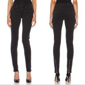 Acne Studios Skin 5 Pistol Black Ankle Zip Jeans